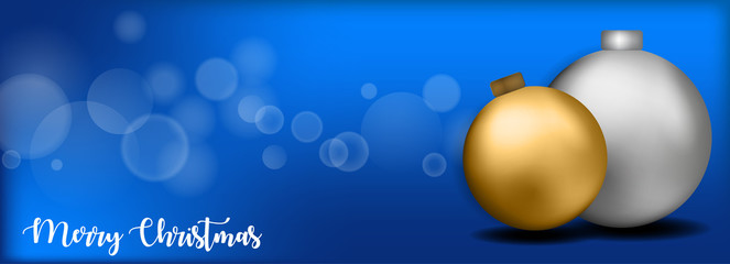 Merry christmas banner design whit ball and blue background