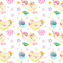 Watercolor pattern with cute unicorns, clouds,rainbow and stars. Magic background with little unicorns.