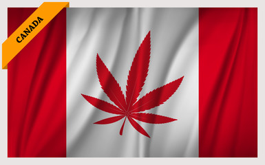 Waving Canada flag with cannabis leaf in center position