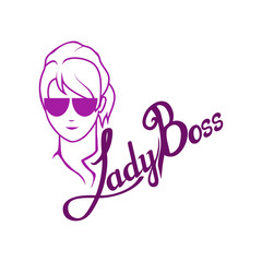 boss character, chief, boss icon for logotype, flyer, posters, card, label, badge, banner, girl boss, chief logo, hand drawn lettering, chief head, vector graphics to design