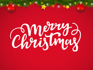 Christmas greeting card with lettering and festive coniferous garland.