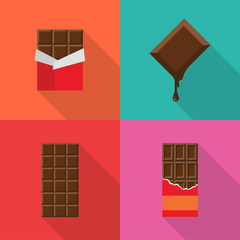 Set of chocolate bars flat icons with long shadow isolated on colorful background. Simple chocolate in flat style. Vector sign symbol.