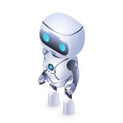 future isometric cute robot innovation technology science fiction design vector illustration