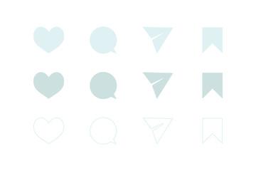 ハート、ふきだし(コメント)、メッセージ送信(紙ヒコーキ)、ブックマーク。シンプルアイコンセット。UI/デザイン素材