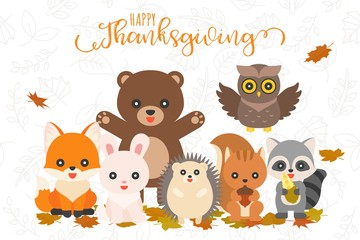 Happy thanksgiving and cute animal character for use as banner,poster,flat design