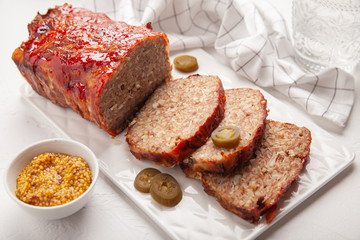 Bacon Wrapped Ground Beef Meatloaf with Cabbage and Bulgur