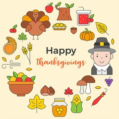 Thanksgiving icon arrange as circle shape and happy thanksgiving text for use as cover,background,wallpaper,backdrop