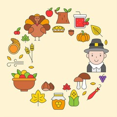 Thanksgiving icon arrange as circle frame shape for use as cover,background,wallpaper,backdrop