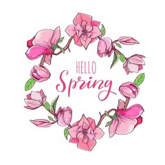 Magnolia flower wreath with Hello Spring Lettering