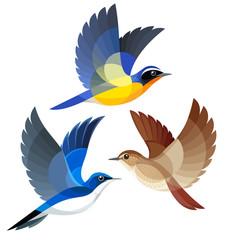 Stylized Songbirds in flight