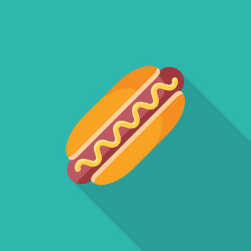 Hot dog flat icon with long shadow isolated on blue background. Simple Hot dog in flat style, vector illustration for web and mobile design. Fast food elements vector sign symbol.