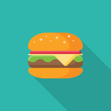 Hamburger flat icon with long shadow isolated on blue background. Simple Hamburger in flat style, vector illustration for web and mobile design. Fast food elements vector sign symbol.