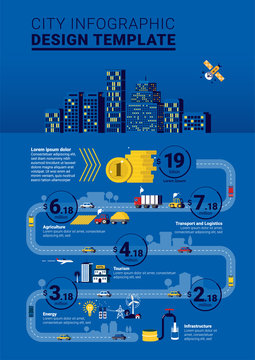 Flat City Infrastructure Infographic Design Template