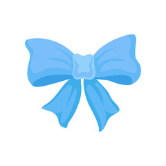 Big bright blue bow made of satin ribbon. Cute decor for gift box. Flat vector element for greeting card or flyer