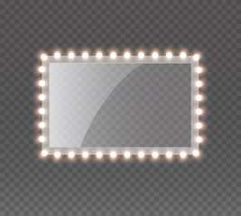 Light rectangle banner isolated on transparent background. Vector Hollywood bulbs frame or Las Vegas casino night sign. Theatre makeup mirror with lamps template.