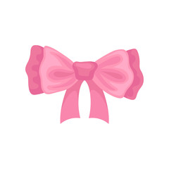 Beautiful pink hair bow. Accessory for girl. Decorative flat vector element for greeting card or advertising poster