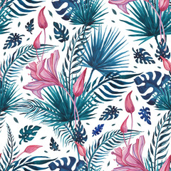 Exotic Garden. Hand drawn floral pattern, vintage style