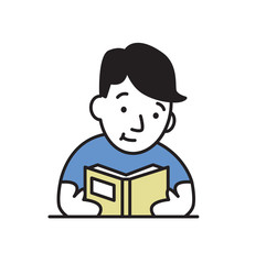 Young man reading a book. Colorful flat vector illustration. Isolated on white background.