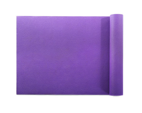 Color yoga mat on white background