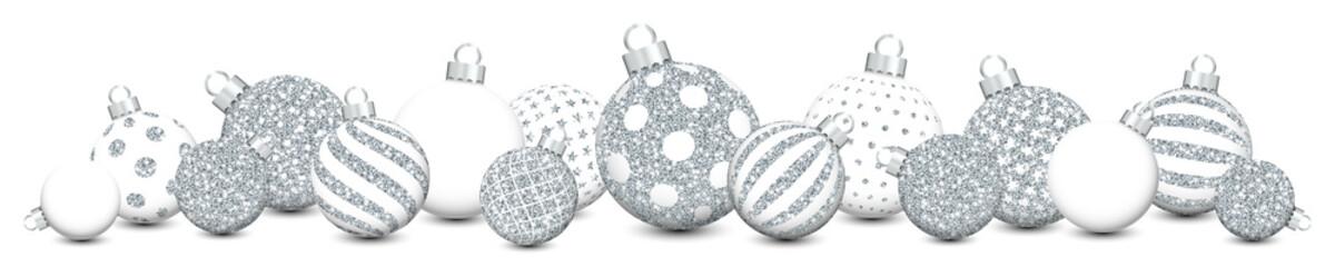 Slim Banner Christmas Balls Pattern Silver Glitter/White/Silver