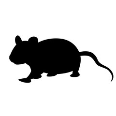 cartoon  rat  vector illustration  black silhouette profile