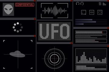 Futuristic UFO display. Spaceship. Vector illustration Alien