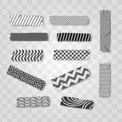 set grey, black and white washi realistic tape pattern vector illustration