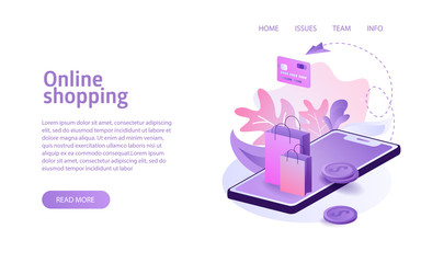 isometric online shopping concept business marketing layout