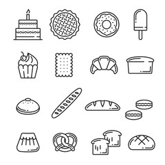 Vector bread and pastry bakery lineart icons