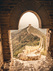 Great Wall of China view from thought an arch