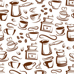 Coffee cups and makers seamless pattern background