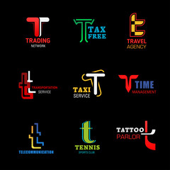Business corporate identity letter T icons