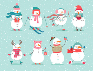 Wall Mural - Christmas set with cute snowmen.