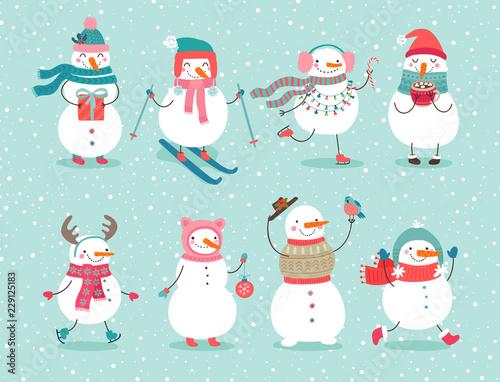 Wall mural Christmas set with cute snowmen.