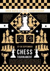 Chess game open tournament, vector