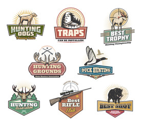 Hunt club open season, wild animals and ammo icons