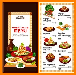 Korean cuisine dishes, vector menu