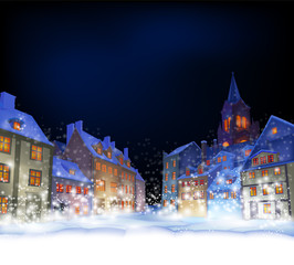 Cristmas greeting card.  Fabulous snow-covered town in the Christmas night. Highly realistic illustration.