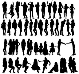 collection of different people silhouettes