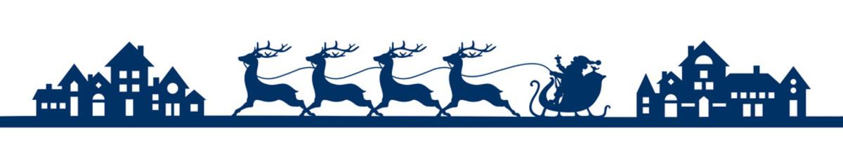 Banner Riding Christmas Sleigh City Blue