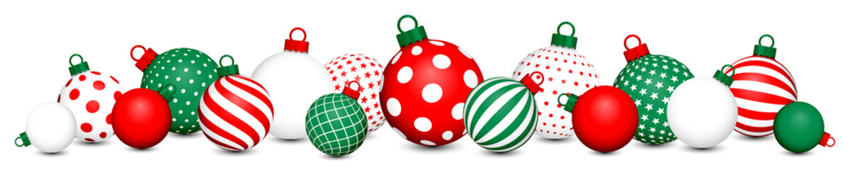 Banner Christmas Balls Pattern Red-Green/White/Red-Green