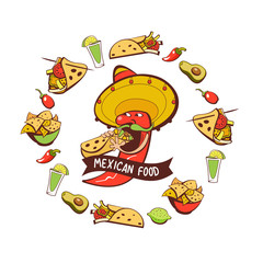 Red chili eats burritos. Mexican food. A set of popular Mexican dishes, fast food. Vector illustration