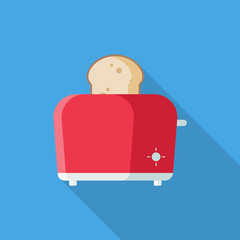 Red Toaster flat icon with long shadow isolated on blue background. Simple Toaster sign symbol in flat style. Kitchen Appliances Vector illustration for web and mobile design.