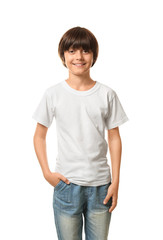 Smiling little boy in t-shirt on white background