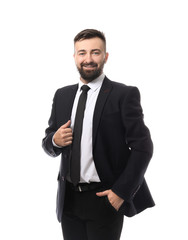 Confident businessman on white background