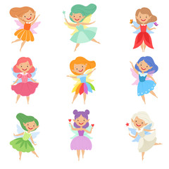 Cute beautiful little winged fairies, lovely girls with hair and dress of different colors vector Illustration on a white background