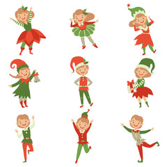 Cute playful boys and girls in elf costumes, little Santa Claus helpers characters vector Illustration on a white background