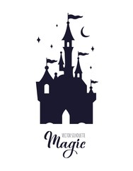 Fairy tale medieval Castle silhouette witn night starry sky