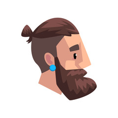 Head of young bearded man with tail, profile of guy with fashion hairstyle vector Illustration on a white background