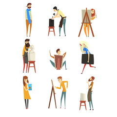 Artist and sculptors set, talented painters or carvers characters, people of creative professions vector Illustration on a white background